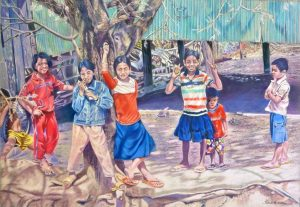 Children in Village of Kep by Helena Anderson