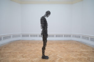 Antony Gormley, Subject II, 2019. 10 mm square section mild steel bar, 189 x 51.5 x 37.5 cm. © the Artist. Photo: David Parry / © Royal Academy of Arts